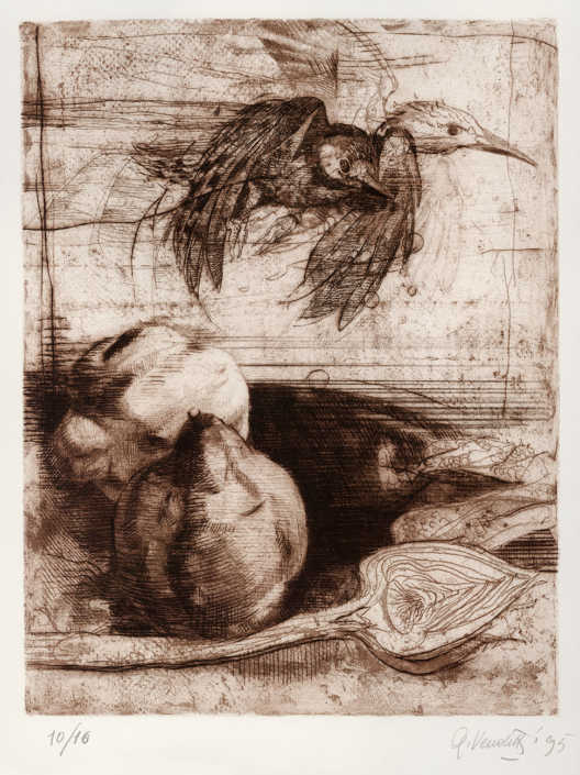 Natura morta - 1995 - ceramolle e puntasecca cm.27x35