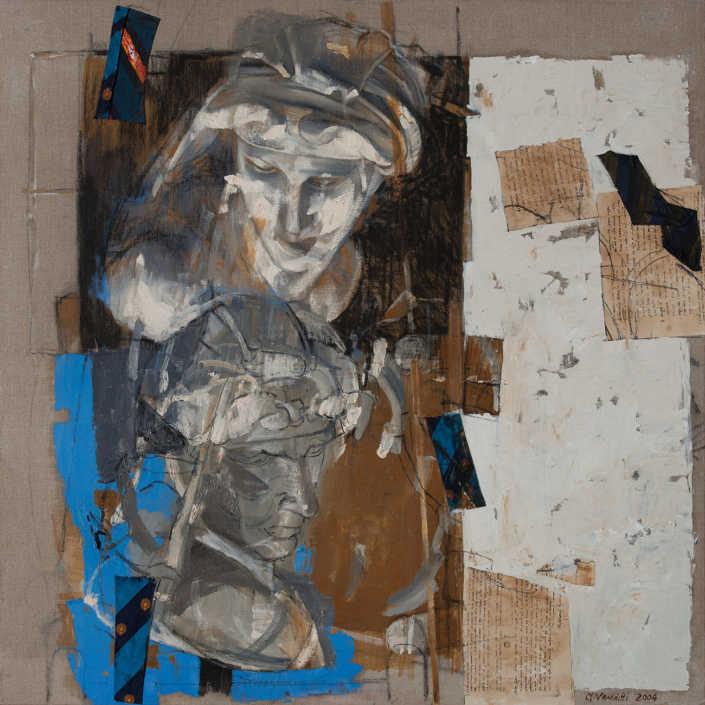 L'Aurora 2004 - olio su tela e collage cm.100x100