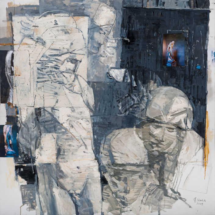 La pietà n°2 2005 - olio su tela e collage cm.100x100