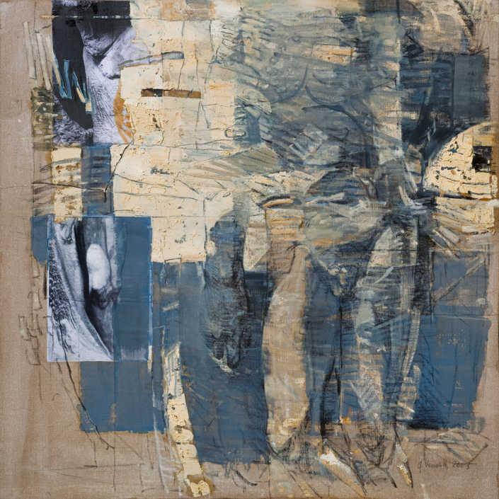 La pietà n°3 2005 - olio su tela e collage cm.100x100