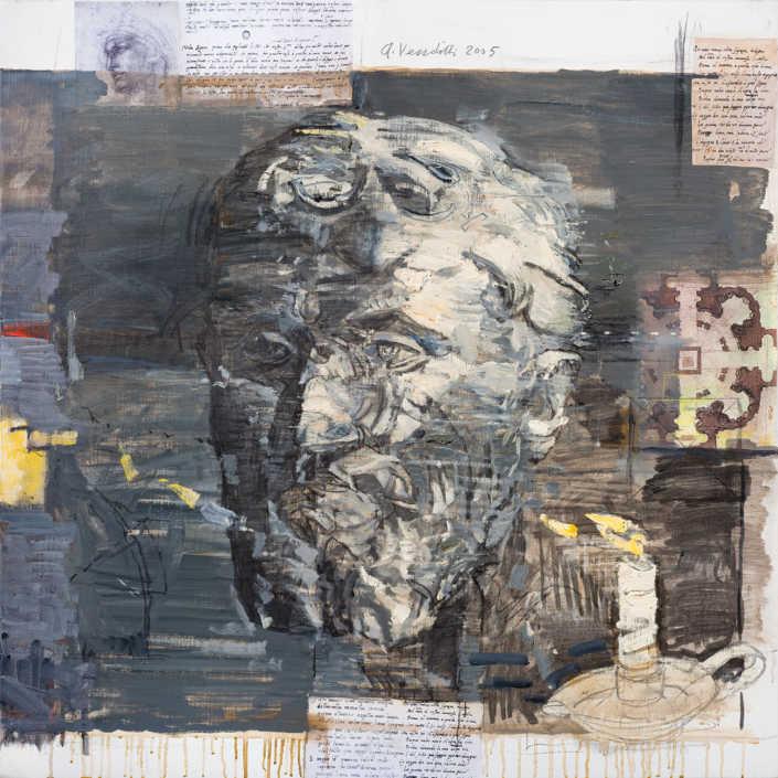 Michelangelo 2005 - olio su tela e collage cm.80x80