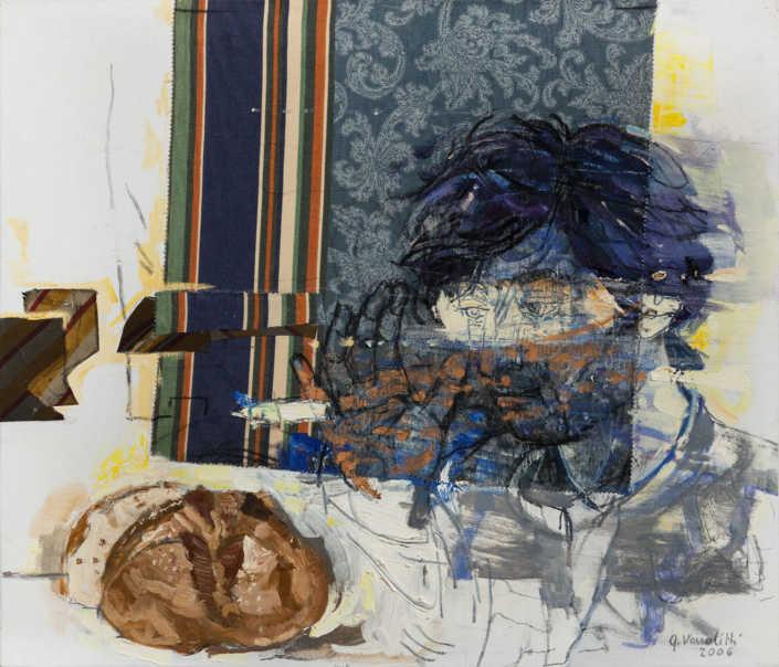 Lo stupopre del discepolo 1 - 2006 - olio su tela e collage cm.70x60