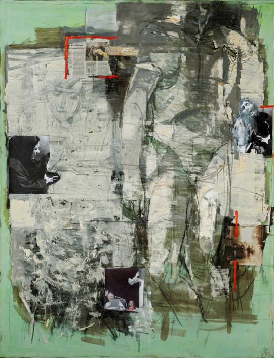 La Pietà n°13 2008/2010 - olio su tela e collage cm.115x150