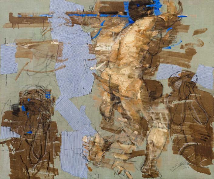 Gli eletti n°1 2008 - olio su tela e collage cm.120x100