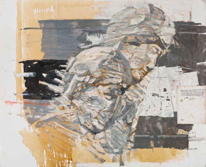 La pietà n°10 2009 - olio su tela e collage cm.80x65