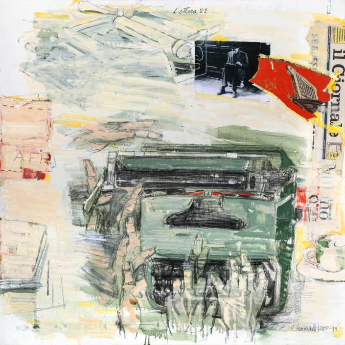 Lettera 22 (omaggio a Montanelli) 2010/2011 olio su tela e collage cm.80x80