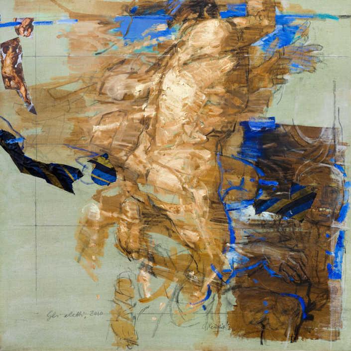 Gli eletti n°2 2010 - olio su tela e collage cm.100x100