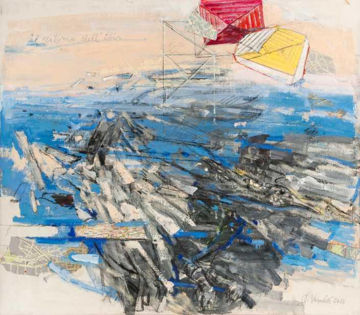 Il ritorno dell'Ibis 2010 - olio su tela e collage cm.80x70