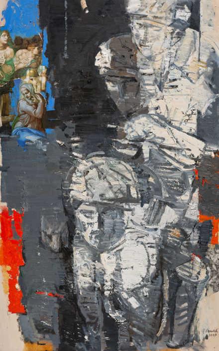 La pietà n°14 2010 - olio su tavola e collage cm.73x117