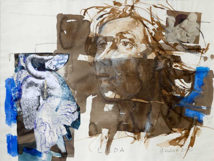 Leda e il cigno 2010 - tecnica mista su carta cm.60x45