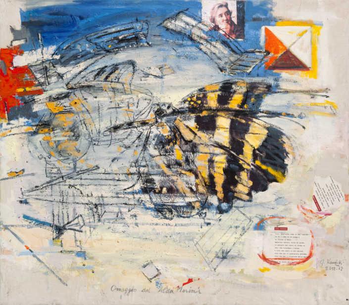 Omaggio ad Alda Merini 2011/2012 - olio su tela e collage cm.80x70