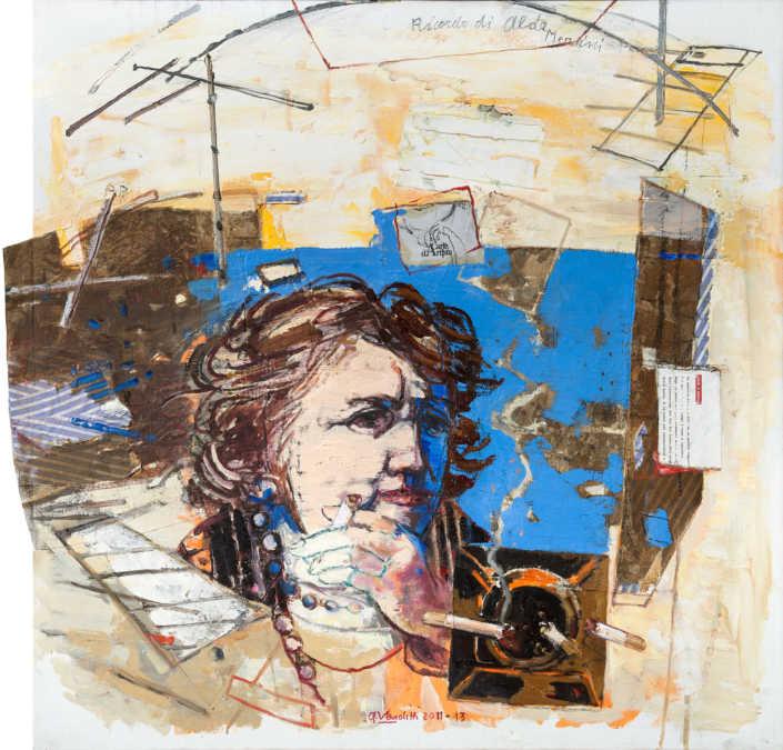 Ricordo di Alda Merini 2011/2013 olio su tela e collage cm.80x80