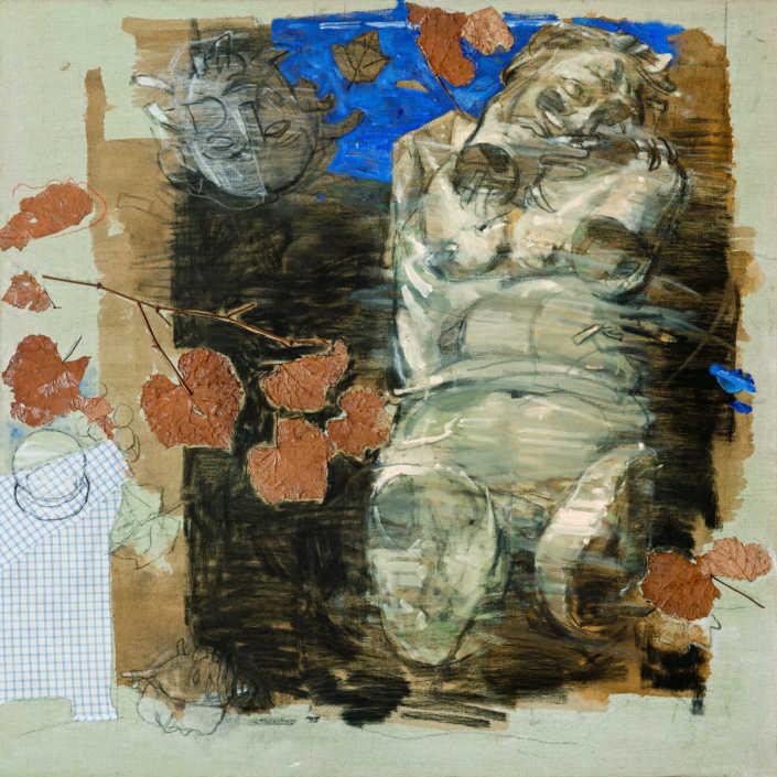 Sileno 2011 - olio su tela e collage cm.100x100