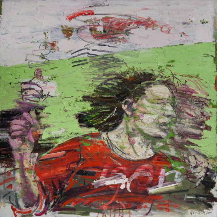 Dinamica del gioco 2011 - olio su tela cm.80x80