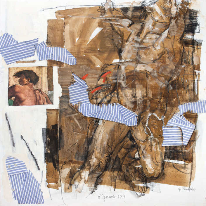L'ignudo 2011 - olio su tela e collage cm.80x80