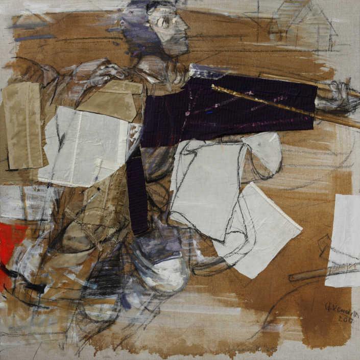 Da Bruegel n°2 2012 - olio su tela e collage cm.80x80