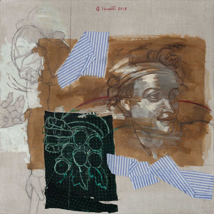 L'ignudo e le ghiande 2013 - olio su tela e collage cm.80x80