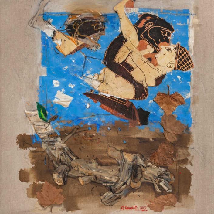 La radice e l'eros 2015 - olio su tela e collage cm.80x80