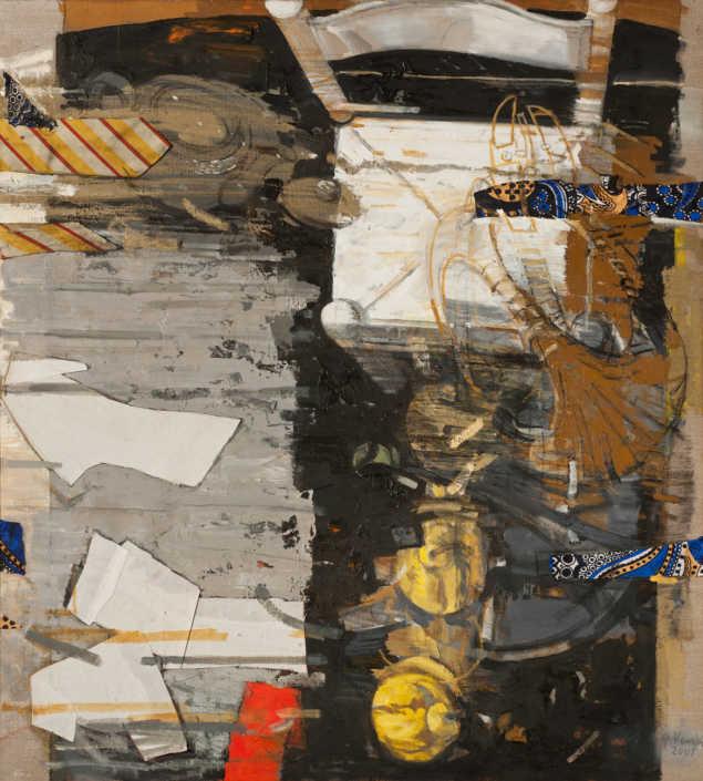 2001-2008 I tempi di caduta - olio su tela e collage cm.90x100
