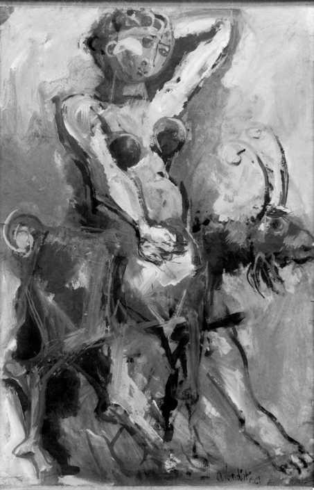 Figura con capra - 1961 tempera su carta cm.100x150