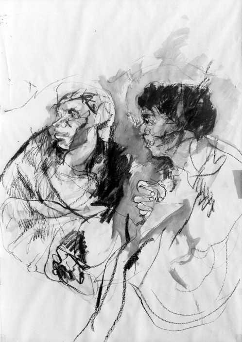 Da goya - 1967 carboncino e acquerello su carta cm,100x150
