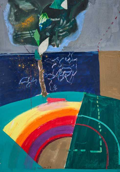 La nascita del pianeta - 1967 tecnica mista e collage su tela cm.60x80