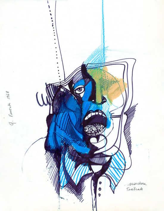 Maschera teatrale - 1968 tecnica mista su carta cm.50x64