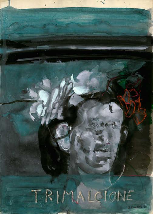 Trimalcione - 1970 tempera su carta cm.50x70
