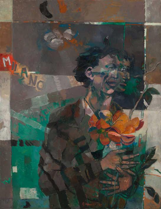 Il poeta e la città - 1971 olio su tela cm.89x115