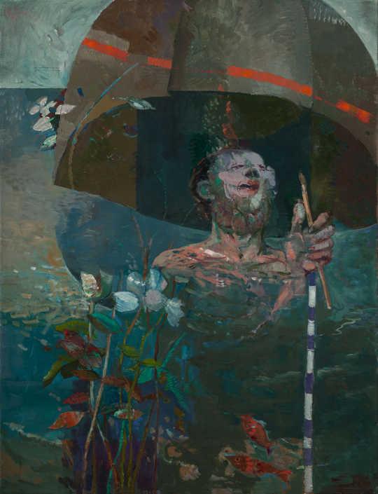 Giovanni Carnovali nel fiume - 1972 olio su tela cm.88x115