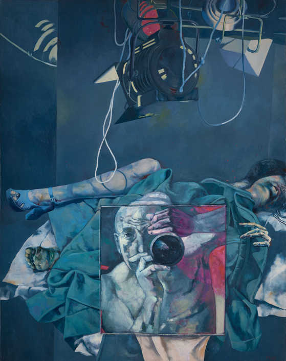 Ripresa per scena erotica - 1974-75 olio su tela cm.115x145