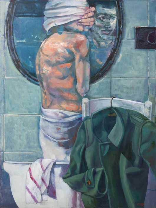 Uomo allo specchio - 1974 olio su tela cm.87x116