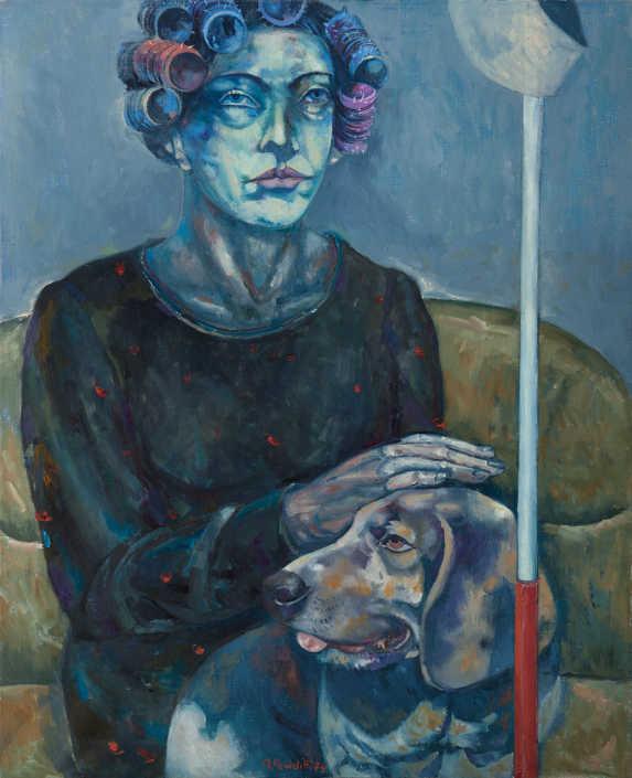 La signora Erika col cane - 1974 olio su tela cm.65x80