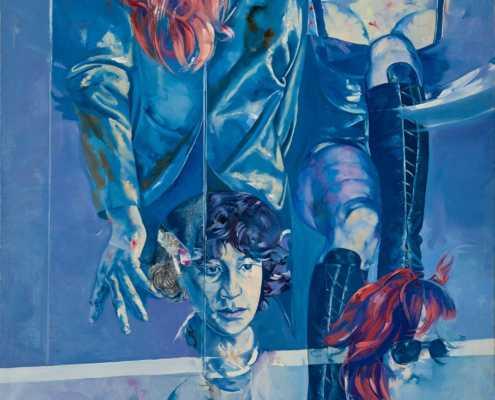 Donne in vetrina - 1975 olio su tela cm.100x90