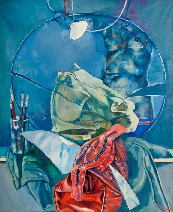 Lezione di figura - 1975 olio su tela cm.90x110