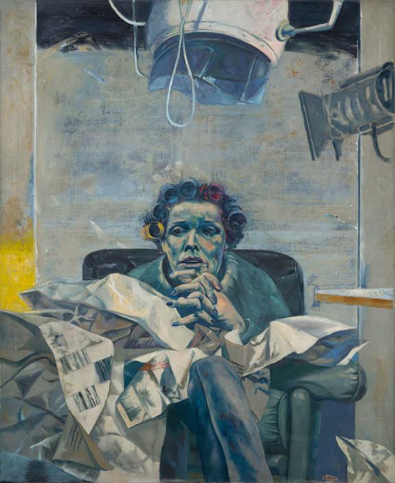 L'attrice e la notizia - 1975 olio su tela cm.90x110