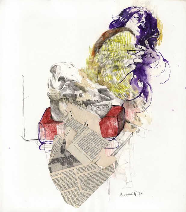 L'attrice - 1975 disegno colorato e collage su carta cm.50x57
