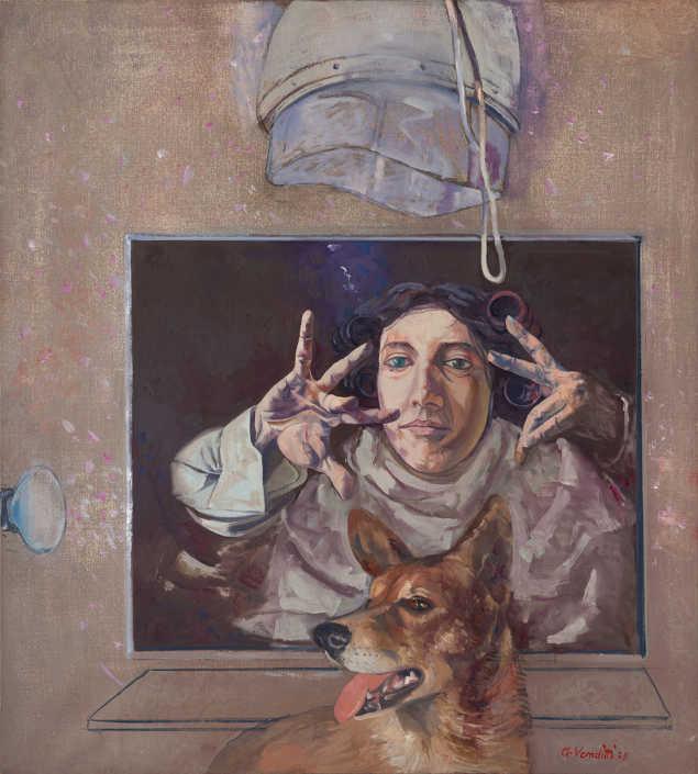 Prove di recitazione - 1975 olio su tela cm.90x100