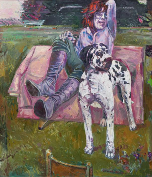 Nel parco - 1976-1978-1989 olio su tela cm.120x130