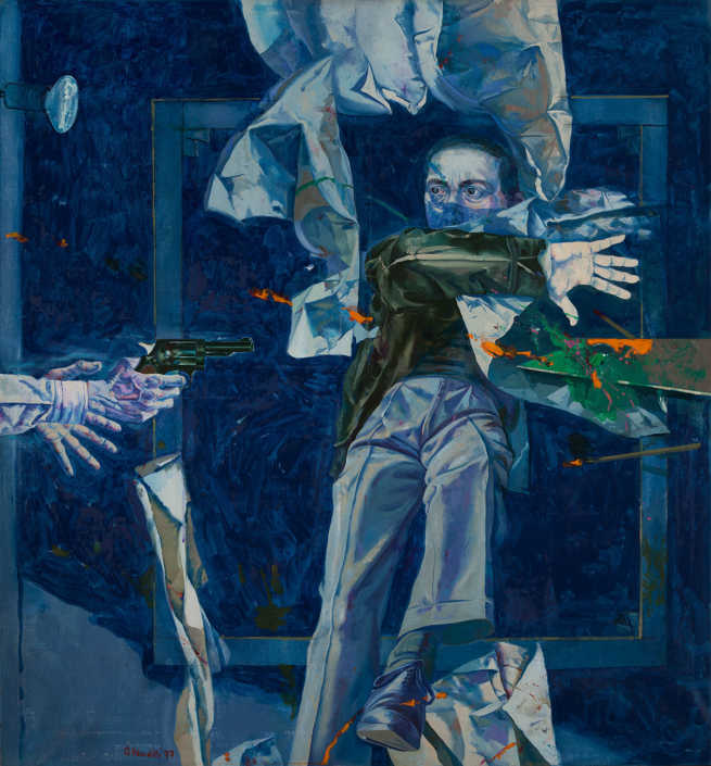 Scena per aggressione - 1977 olio su tela cm.130x140