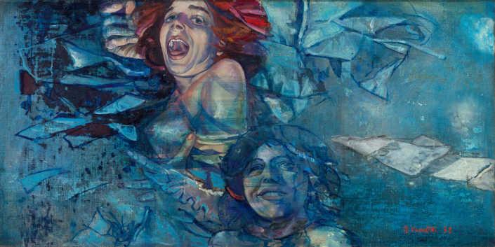 Gli attori - 1978 olio su tela cm.120x60