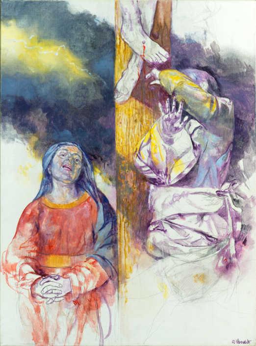 Ai piedi della croce - 1987 olio su tela cm.60x80