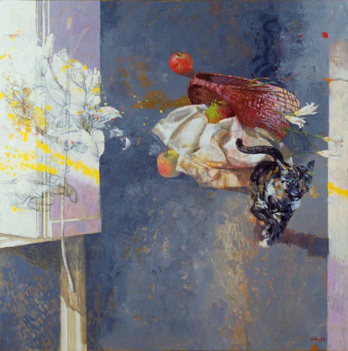 Dall'annunciazione di Lorenzo Lotto - 1990 olio su tela cm.100x100