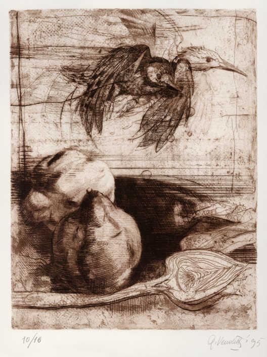 Natura morta - 1995 ceramolle e puntasecca cm.27x35