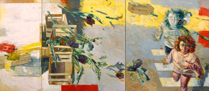 Il vento giallo e i carciofi (trittico) - 1996 olio su tela cm.250x110