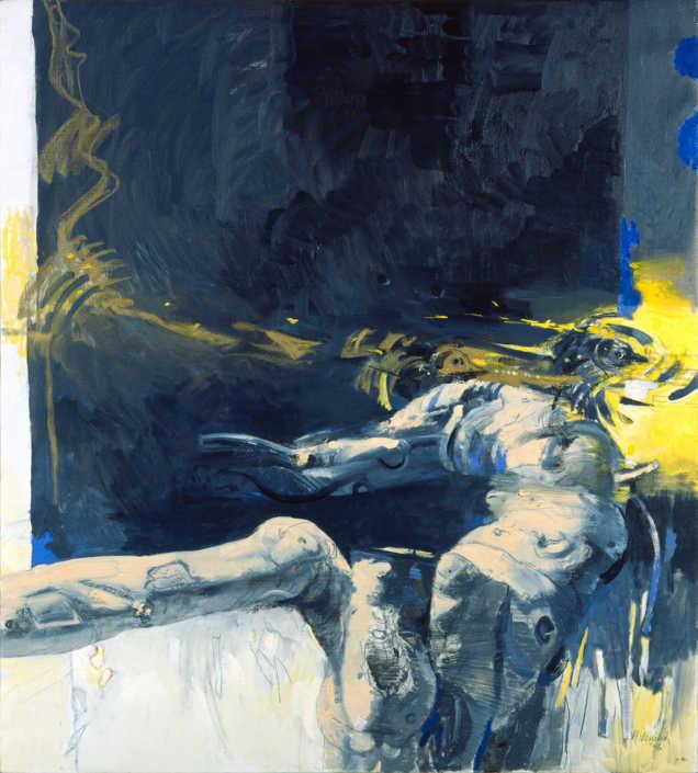 Vecchio tronco + Volo (Apocalisse) - 1996 olio su tela cm.90x100