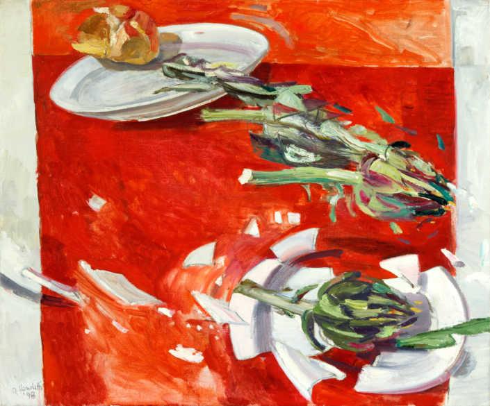 Il piatto rotto e i carciofi - 1998 olio su tela cm.64x54