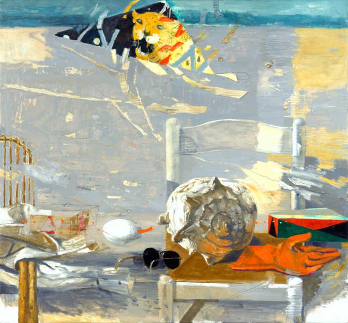 La metafisica e il vento - 1998 olio su tela cm.100x90