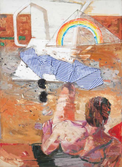 La spiaggia rossa - 1998 olio su tela e collage cm.73x100