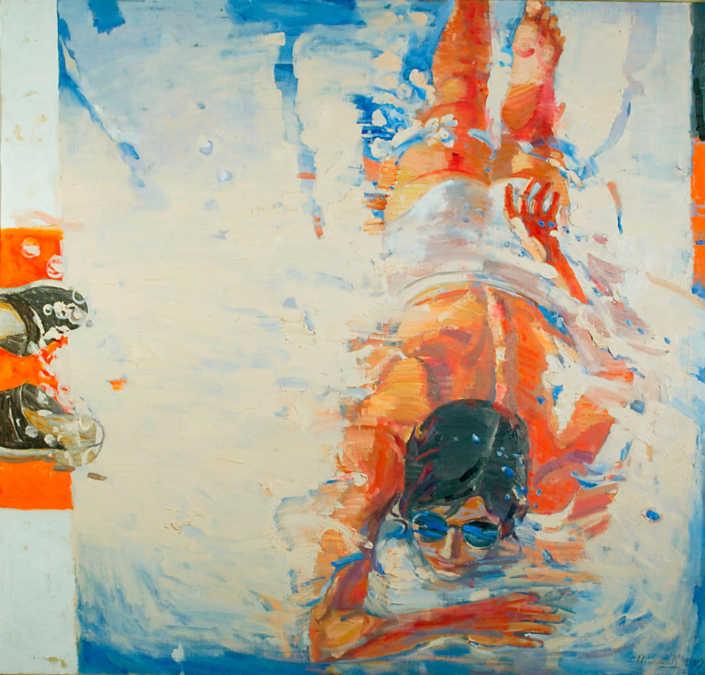 Figura in acqua - 1999 olio su tela cm.95x90